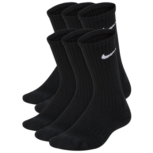 Nike Boys 6 Pack Cushioned Crew Socks Black/White