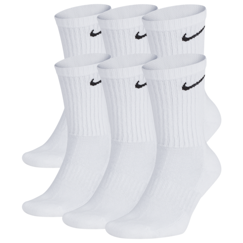 Nike Mens 6 Pack Performance Cotton Crew Socks White/Black