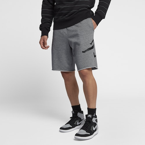Jordan Mens Jumpman Fleece Shorts Carbon Heather/Black
