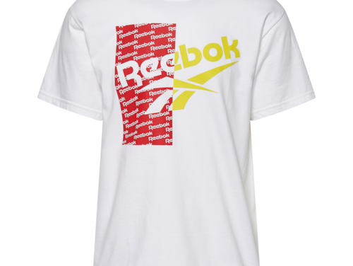 Reebok Mens Pattern Overlay T-Shirt White/Red/Yellow