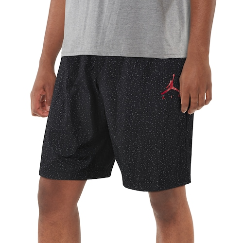 Jordan Mens Cement Poolside Shorts Black/Gym Red