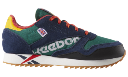 Reebok Boys Classic Leather Ripple Shoes Nautical Green/Navy/Yellow