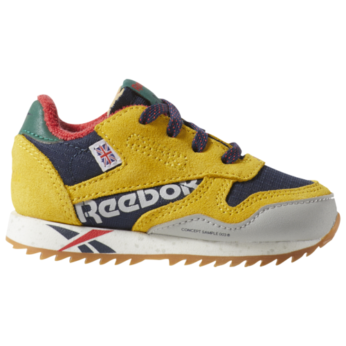 Reebok Boys Classic Leather Ripple Shoes Toxic Yellow/Collegiate Navy/Primal Red/Green