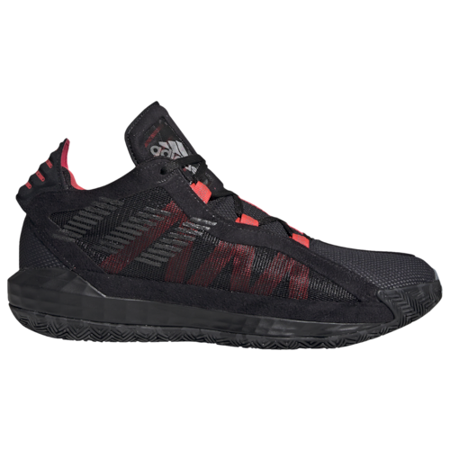 adidas Mens Lillard, Damian Dame 6 Basketball Shoes Black/Trace Grey/Shock Red