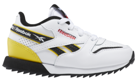 Reebok Boys Classic Leather Ripple MU Shoes White/Primary Red/Yellow