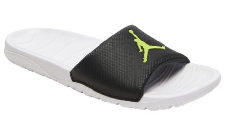 Jordan Mens Break Slide Basketball Shoes Black/Cyber/White