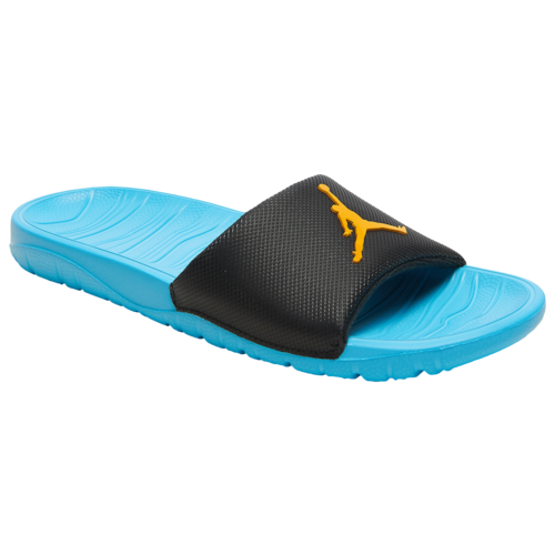 Jordan Mens Break Slide Basketball Shoes Black/University Gold/Blue Fury
