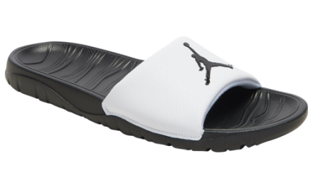 Jordan Mens Break Slide Basketball Shoes White/Black